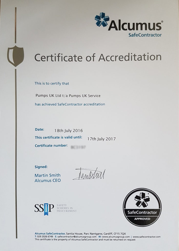 Safe Contractor Accreditation Certificate