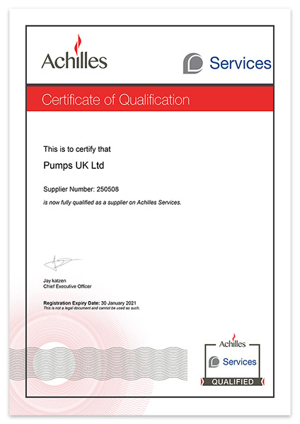 Pumps UK Achilles Certificate